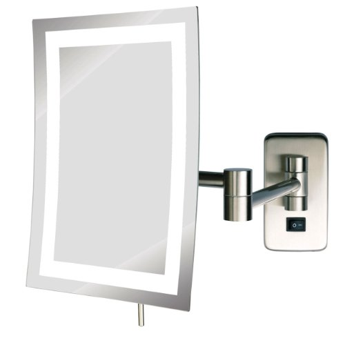 See All Hlednsa69D Frameless Led Lighted Rectangular Wall Mounted Makeup Mirror 5X Direct Wire, Nickel front-756642