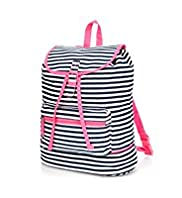 Pure Cotton Striped Canvas Rucksack