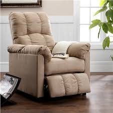 Slim Microfiber Thickly Padded Seat Tall Back Design Recliner with Smooth push back reclining mechanism, and Beige microfiber