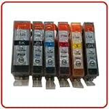 CLI-526 / PGI-525 - 5 Pack Full Set of Compatible Ink Cartridges for Canon Pixma iP4850, iP4950, MG5150, MG5250, MG5350, MG6150, MG6220, MG6250, MG8150, MG8220, MG8250, MX885, IX6550 printers (Contains: PGI-525BK,CLI-526BK,CLI-526C,CLI-526M,CLI-526Y) Chi