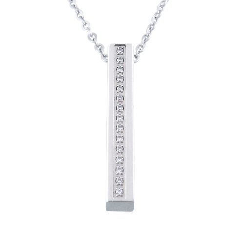 Women's Stainless Steel with Cubic Zirconia Rectangle Pendant Necklace , 18
