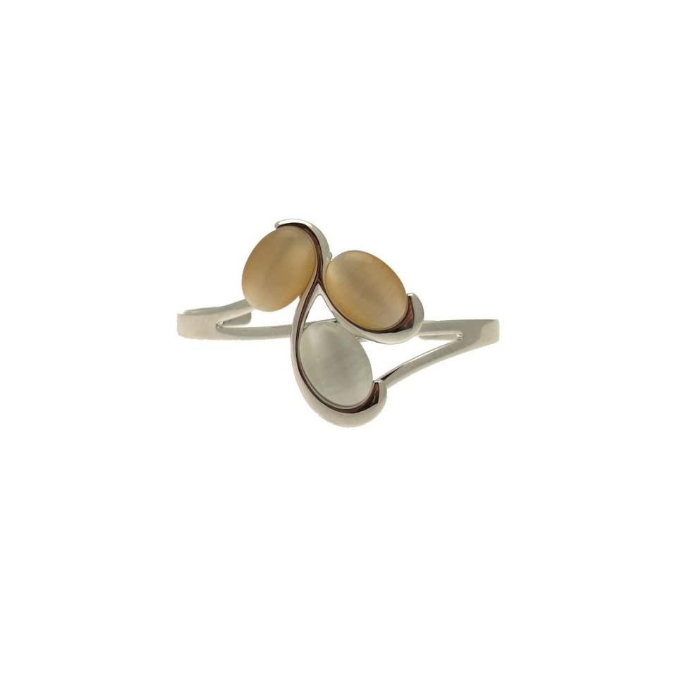 Acosta   Peach & White Cats Eye Stone   Contemporary Cluster Bangle / Bracelet (Silver Tone)   Gift Boxed