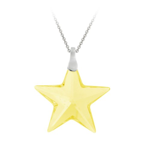 Sterling Silver Light Yellow Swarovski Elements Star Pendant Necklace , 18