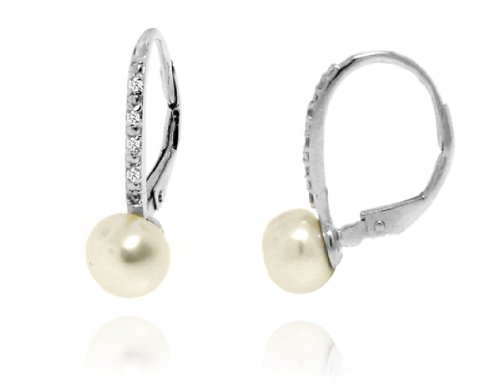 Sterling Silver 925 Micro-pave Genuine Diamond Accents 0.05cts (Color H-I, Clarity I2-I3) Fresh Water White Pearl Dangle Earrings