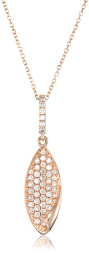 "Kc Designs ""Metro"" 14K Rose Gold And Diamond Leaf Pendant Necklace (1/3 Cttw, H-I Color, Si2-Si1 Clarity), 16"""