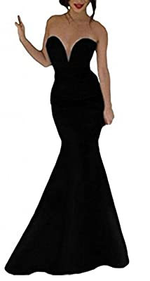 NuoReel Women's Black Strapless Mermaid Long Evening Dresses