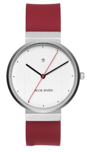 Jacob Jensen 751 - Reloj analógico de cuarzo para hombre con correa de caucho, color rojo