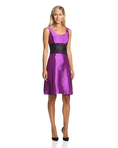Isaac Mizrahi Women's Scoop Neck Lace Bodice Dress
