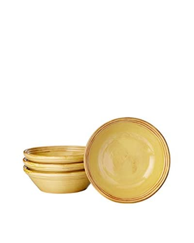 COLI Set of 4 Italian Stoneware Classic Soup Bowls, Saffron Yellow