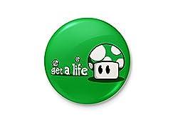 Get A Life Mario - Green Mushroom Minimalist Badge