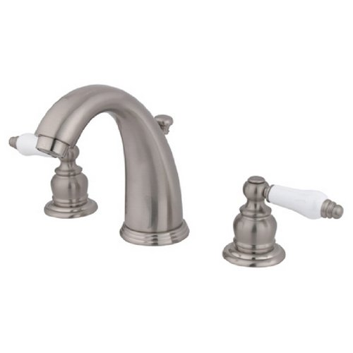 Bathroom Sink Faucet Porcelain Lever Handles: Kingston Brass KB988PL Victorian Widespread Lavatory