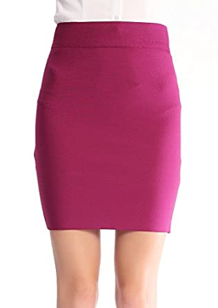 Modenuage Women's Bodycon Bandage Mini Skirt Fuchsia XS
