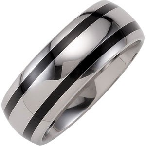Dura Tungsten Domed Comfort Fit Band with Black Enamel Inlay Size 8.5
