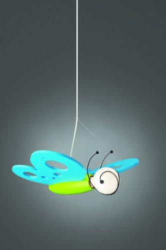 Trio-Leuchten 306501012 Pendelleuchte Schmetterling 1xE27 max. 40W Holz inkl: Leuchtmittel blau/grün
