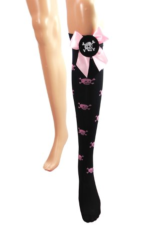 Tokyo Lolita Pink Bow and Skull Knee High Socks Stockings
