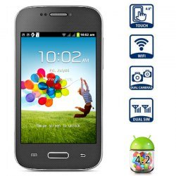 4-Zoll-Mini S4 Android 4.2 Smart Phone SMDK4x12 1GHz HVGA Screen Doppel-SIM-Quad-Band WiFi - Schwarz