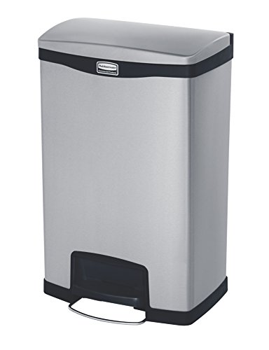 Rubbermaid Commercial Slim Jim Front Step-On Trash Can, Stainless Steel, 13 Gallon, Black (Step Garbage Can 13 Gallon compare prices)