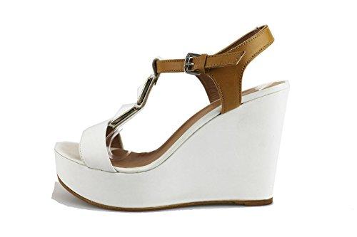 MICHEL BATIC 40 EU sandali zeppe donna bianco pelle cuoio AG457