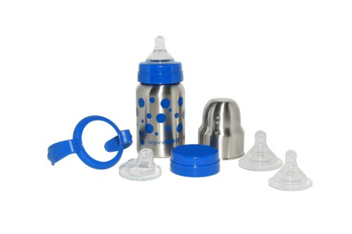 organicKidz Baby Grows Up Stainless Steel Bottle Set, Blue Dots, 9 Ounce