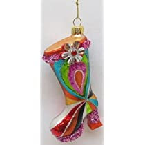 December Diamonds Glass Rainbow Flower Power High Heeled Boot Shoe Ornament is Ready to Hang on a Gold Cord...Fun Gift for the Lady in Your Life!!