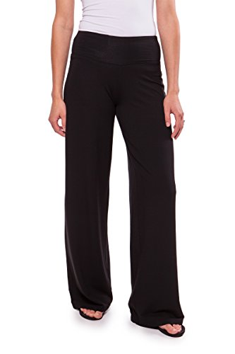 Women's Wide Leg Universal Pants - Cosmos (Black, Large) Women's French Terry Pants WB1212-BLK-L (Wide Leg Pants Women compare prices)