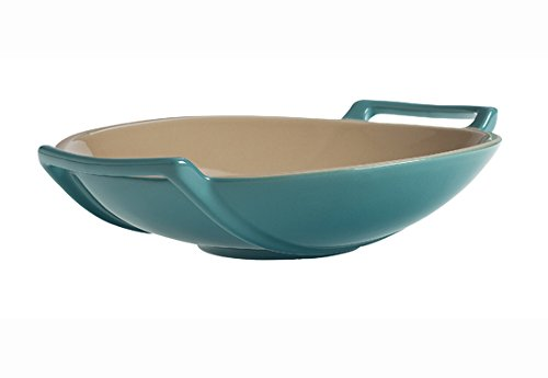 Le Creuset of America Stoneware Wok Dish, 28-Ounce, Caribbean