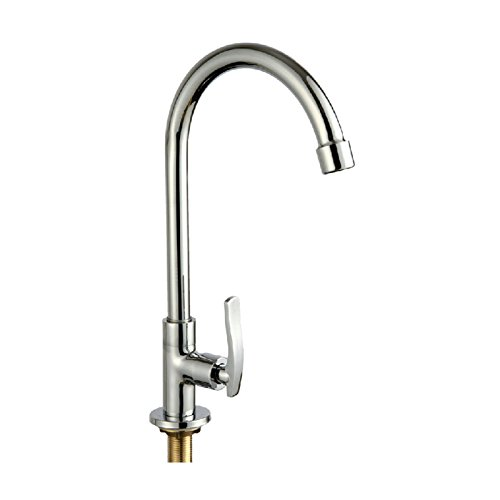 Generic Simple Chrome Kitchen Faucet Basin Sink Tap Single Lever Only For Cold Water