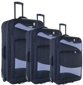 Reisetrolley Koffer schwarz Weichgepäck 3-teiliges