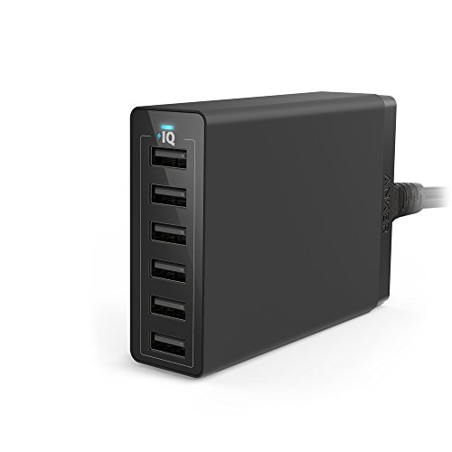 Anker PowerPort 6 (60W 6ポート USB急速充電器) iPhone / iPad / iPod / Xperia / Galaxy / Nexus / 3DS / PS Vita / ウォークマン他対応 【PowerIQ搭載】 (ブラック)  A2123512