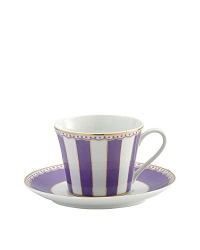 Noritake Carnivale 8-Oz. Cup & Saucer, White/Lavender