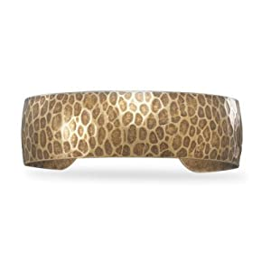 Oxidized Hammered Brass Cuff Bracelet - JewelryWeb