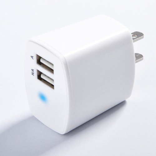 PowerGen Dual Port USB 2.1A 10W AC Travel Wall Charger for Apple iPad 2, New iPad 3, Amazon Kindle, Kindle DX, Kindle Fire / Noble Nook Color / HTC Flyer / Samsung Galaxy Tab Series (USB Cable not included) - White