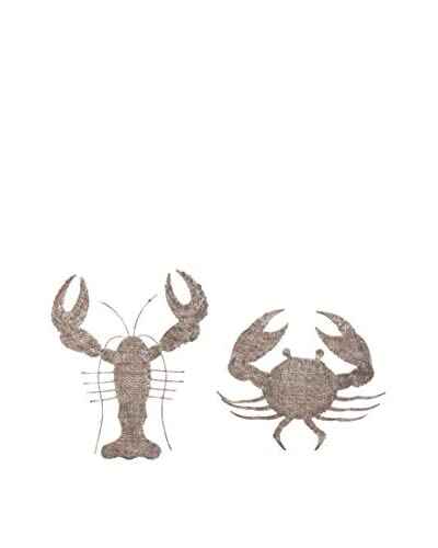 Set of 2 Oceana Lobster & Crab Woven Wall Decorations