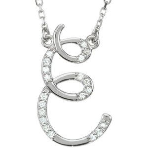"Sterling Silver Alphabet Initial Letter E Diamond Pendant Necklace 17"" (G-H, I1, 1/10 Cttw)"