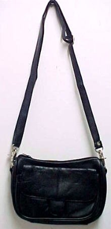 Black Napa Leather Shoulder Bag Satchel Ride Bag Biker
