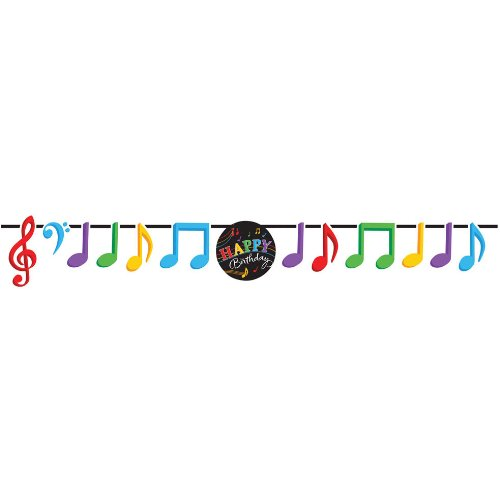 Dancing Music Notes Ribbon Banner Happy Birthday