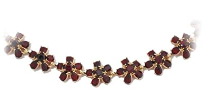 Gioie Women's Necklace in Yellow 14k Gold with Garnet, Cm 42, 30 Grams