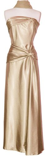 Goddess Strapless Satin Holiday Formal Bridesmaid Gown Prom Dress, 2X, Gold