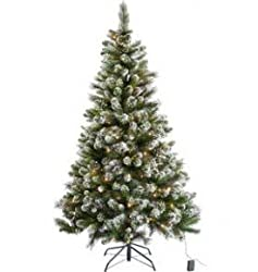 Snow Tipped Pine Christmas Tree With Free Decorations - 5 feet