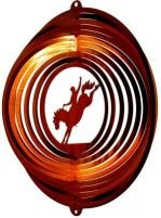 Stainless Steel Bronco Rider - 12 Inch Wind Spinner, Copper