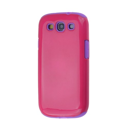 Dual Layer Hard Shell Case Cover with soft Silicone Core for Samsung Galaxy S3 i9300 (Purple/DeepPink)