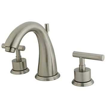 Kingston Brass KS2968CML Concord 8-Inch Widespread Lavatory Faucet with Brass Pop-Up, Satin Nickel