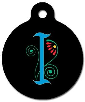 Monogram Letter I Pet ID Tag for Dogs and Cats