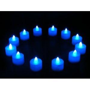 12er Batteriebetriebene Blaue LED Teelichter