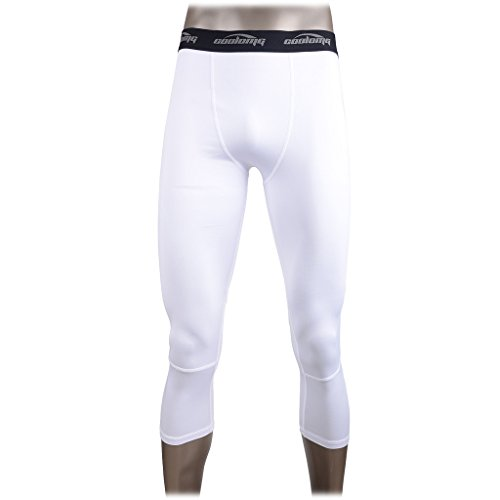 COOLOMG Compression Running 3/4 Tights Capri Pants Leggings Quick Dry For Men Youth Boy White S (Boys Capri Pants compare prices)