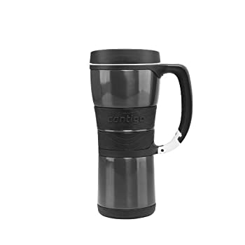 Contigo At a Glance   16-ounce stainless steel travel mug for both hot and cold beverages  New and improved pull-tab lid makes this mug 100-percent leak-proof   Vacuum-insulated stainless steel keeps beverages hot for 4 hours and cold for 12 hours  ...