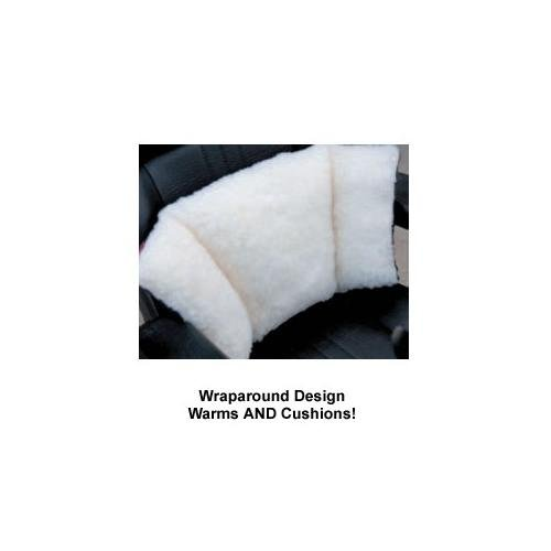 WRAP AROUND FAUX SHEEPSKIN FLEECE LUMBAR CUSHION PLUS WARMS YOUR LOWER BACK GROIN PELVIS AND KIDNEYS