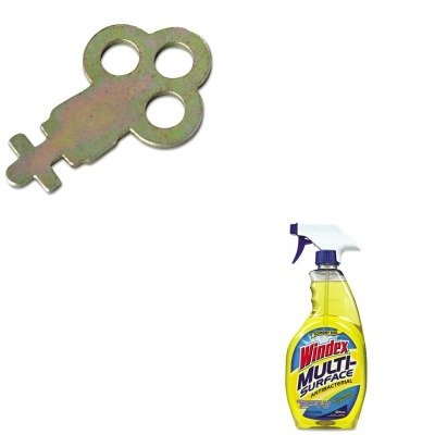 Kitdracb701380Sjmn13Ez - Value Kit - San Jamar Key For Metal Toilet Tissue Dispensers: T800 (Sjmn13Ez) And Windex Antibacterial Multi-Surface Cleaner (Dracb701380) front-562021