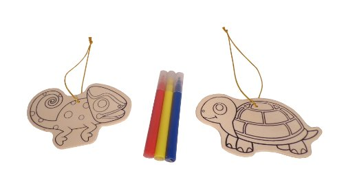 WeGlow International Reptiles Wood Ornament Kit, Makes 2 (Set of 3)