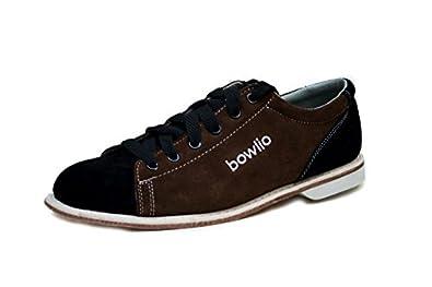 Bowlio Supreme - Bowlingschuhe aus Velourleder für Damen und Herren in Schwarz und Braun, Größe:36